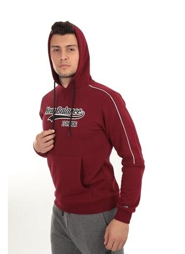 New Balance Erkek Kapüsonlu Sweatshirt MPH003-BKR Renkli